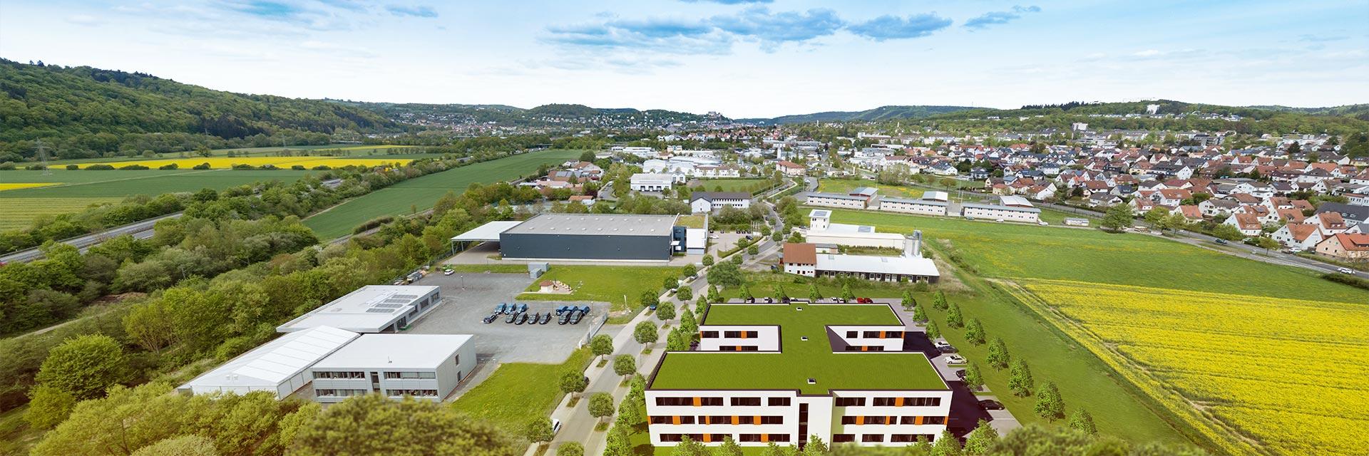 Panoramaansicht des Business Hub Bürogebäudes in Marburg Cappel